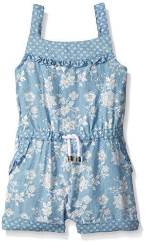 Calvin Klein Baby-Girls Discharge Printed Denim Romper, Blue, 24 Months