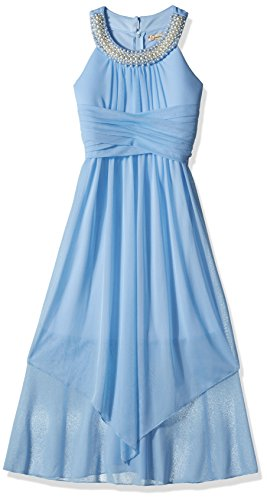 Speechless Big Girls' Sheer Matte Jersey Beaded High Neck Maxi Dress, Blue, 8