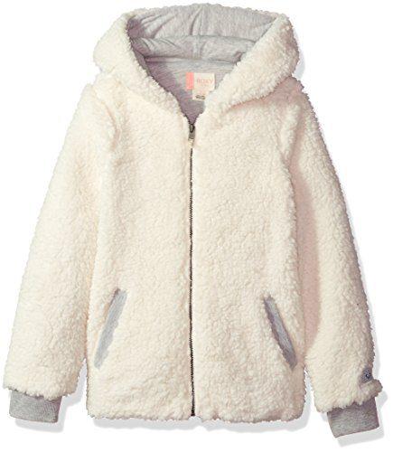 Roxy Big Girls' Fashion Sherpa Sweatshirt, Marshmallow, 12/L