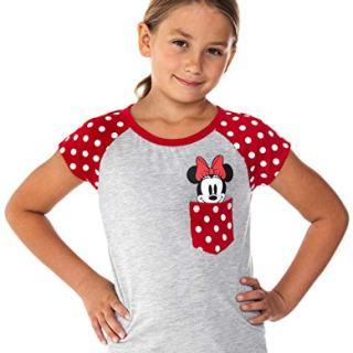 Disney Youth Girls Minnie Peeking Pocket Tee Grey Medium