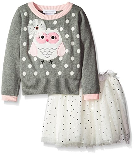 Bonnie Jean Little Girls' Dress Owl Sweater Skirt Set, Grey, 5