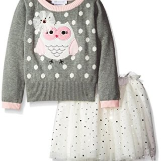 Bonnie Jean Little Girls' Dress Owl Sweater Skirt Set, Grey, 5