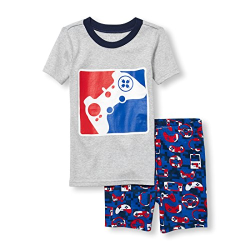 The Children's Place Big Girls' Top and Shorts Pajama Set, H/T Mist 4, 8