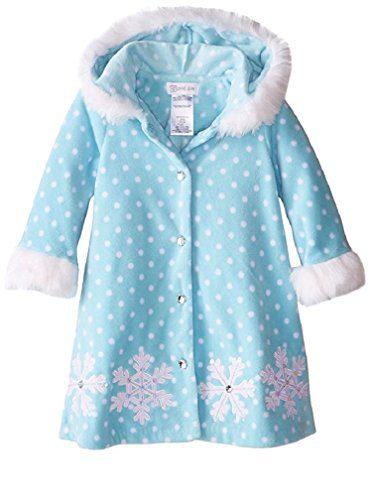 Bonnie Jean Little Girls' Snowflake Fleece Coat, Aqua, 24M