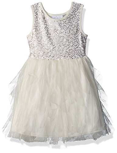 Children's Place Big Girls' Sequin and Mesh Dress, Snow