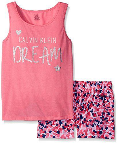 Calvin Klein Little Girls' Dream Tank Short Sleep Set, Pink, 5/6