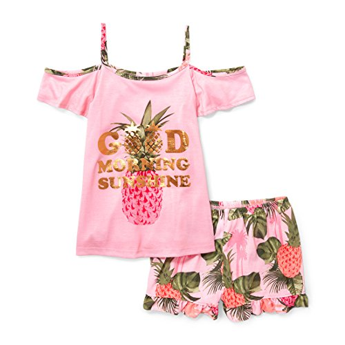 The Children's Place Big Girls' Top and Shorts Pajama Set, Angel Kiss, S (5/6)