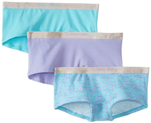Calvin Klein Big Girls' Ck 3 Pack Chrome Boyshorts, Assorted, X-Small 4/5
