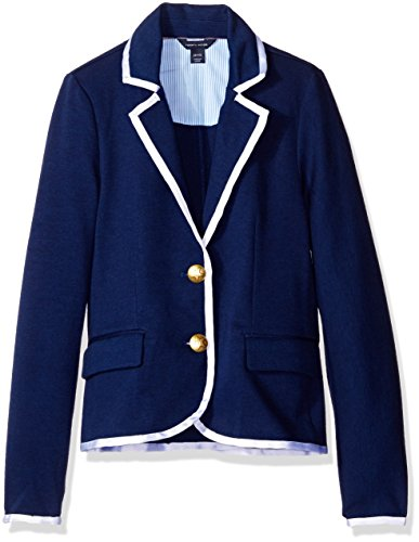 Tommy Hilfiger Big Girls' Ponte Blazer, Medium Navy, Large/12/14