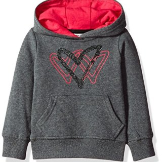Calvin Klein Little Girls' Triple Heart Popover Hoodie, Charcoal Heather, 6