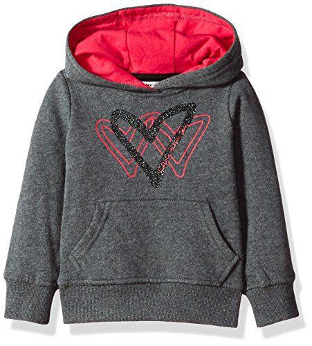 Calvin Klein Little Girls' Triple Heart Popover Hoodie, Charcoal Heather, 6