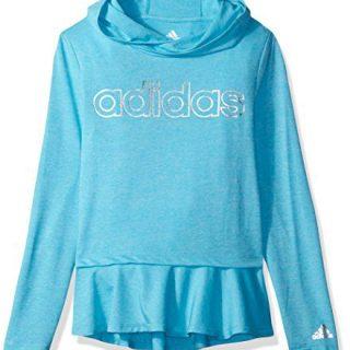 adidas Big Girls' on The Go Melange Hoodie, Blue, M
