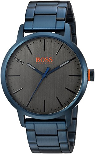 Hugo BOSS Men's 'Copenhagen' Quartz and Stainless-Steel-Plated Casual Watch, Color Blue