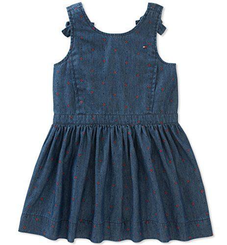 Tommy Hilfiger Toddler Girls' Denim Dress, Print/Dark Wash Blue, 4T