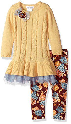 Bonnie Jean Toddler Girls' Fashion Long Sleeve Legging Set, Yellow, 2T