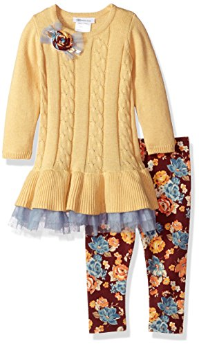 Bonnie Jean Toddler Girls' Fashion Long Sleeve Legging Set, Yellow, 2T