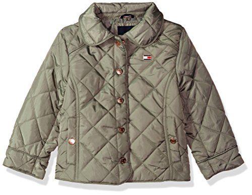 Tommy Hilfiger Toddler Girls' Diamond Quilted Barn Jacket, Sagier Green, 4T