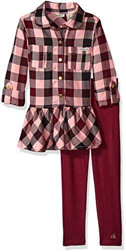 Calvin Klein Little Girls' Toddler Yarn Dyed Tunic with Leggings Set, Wine, 3T