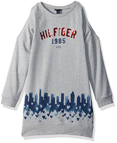 Tommy Hilfiger Big Girls' Open Shoulder Sweatshirt Dress, Pearlheather, Medium