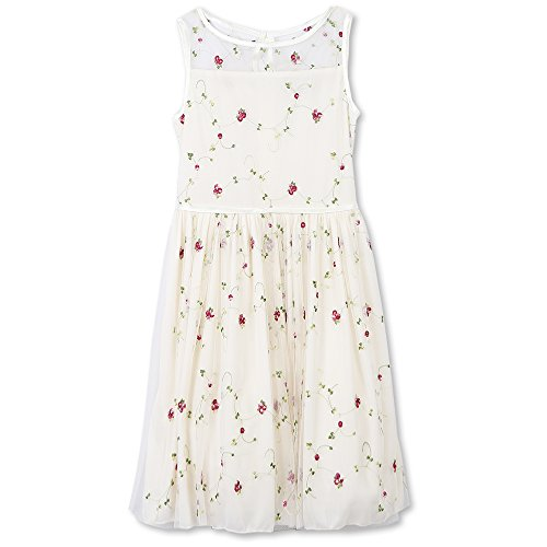 Speechless Big Girls' Her Favorite Dress With Illusion Neckline, Ivory/Pink, 12