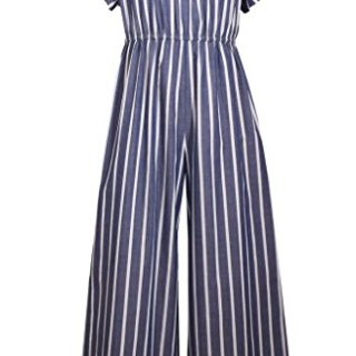 Bonnie Jean Navy & White Striped Chambray Jumpsuit, Size 20.5