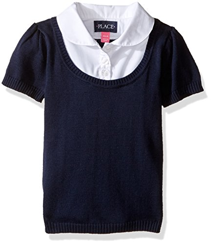 The Children's Place Big Girls' Uniform Sweater and Blouse Set, Tidal, Large/10/12