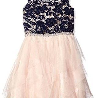 Tween Diva Big Girls' Lace Bodice to Mesh Cascade Dress, Navy/Blush, 7