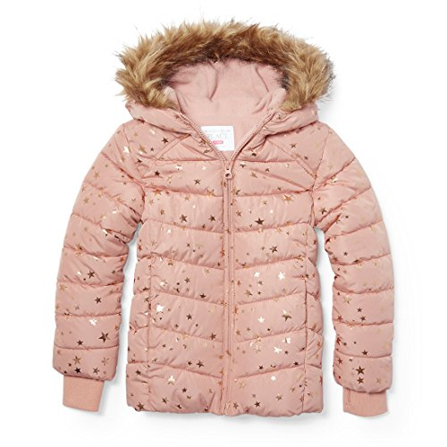 The Children's Place Big Girls' Puffer Jacket, Cherry Ice, XXL(16)