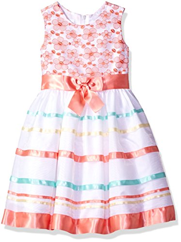 Bonnie Jean Toddler Girls' Sleevless Bow Front Party Dress, Coral/Blue/Yellow, 4T