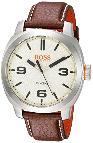 Hugo BOSS Men's 'Cape Town' Quartz Stainless Steel and Leather Casual Watch, Color Brown