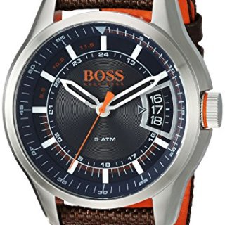 Hugo BOSS Men's 'Hong Kong Sport' Quartz Stainless Steel and Nylon Casual Watch, Color:Brown