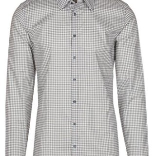 Gucci Men's Gray Vichy Check Print Slim Fit Button Down Dress Shirt, Gray, 16