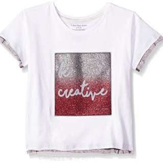 Calvin Klein Big Girls' Be Creative Tee, White, Medium (8/10)