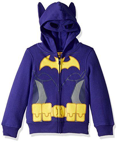 DC Comics Big Girls' Batgirl Costume Hoodie, Purple, 10/12