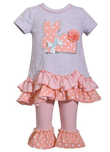 Bonnie Jean Easter Baby Girls' Appliqued Skirt Dress and Legging Set (3T, Peach/Gray)