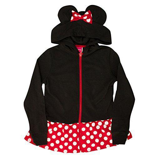 Disney Minnie Mouse Girls Sweatshirt Zip Jacket Costume Ears Ages 4-12 (Medium)