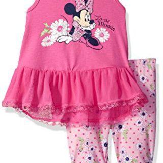 Disney Girls' 2 Piece Minnie Mouse Crinkle Chiffon Capri Legging Set