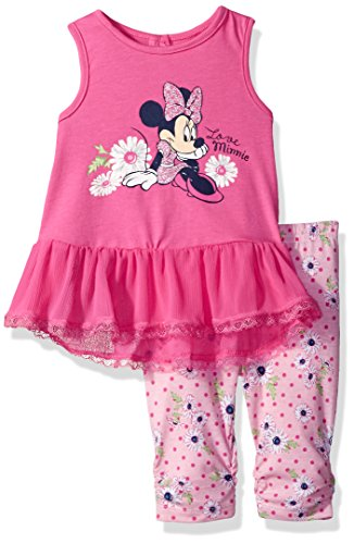 Disney Girls' 2 Piece Minnie Mouse Crinkle Chiffon Capri Legging Set