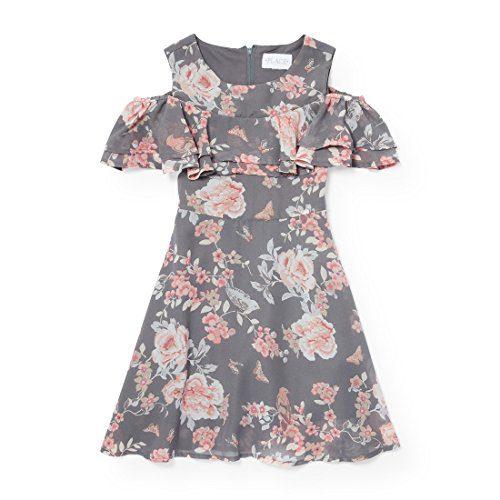The Children's Place Little Girls' Sleeveless Dressy Dresses, Chalkboard