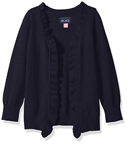 The Children's Place Little Girls' Uniform Ruffle Cardigan, Tidal, X-Small/4