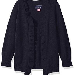 The Children's Place Little Girls' Uniform Ruffle Cardigan, Tidal, X-Small/4