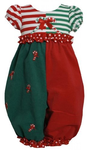 Bonnie Jean Little Girls 2T-6X Red/Green Striped Color Block Candy Cane Corduroy Romper, Red, 3T