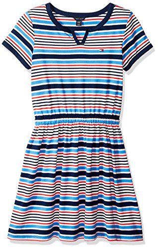 Tommy Hilfiger Big Girls Stripe Dress, Flag Blue, Large (12/14)