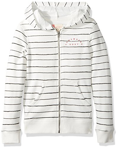 Roxy Girls' Big Naked Eye Hoodie, Marshmallow Pencil Stripe, 12