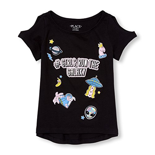The Children's Place Big Girls' Graphic Long Sleeve Tee Shirt, Black, S (5/6)