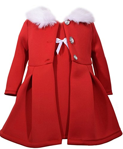 Bonnie Jean Little Girls' Dress and Coat Set, Red, 6X