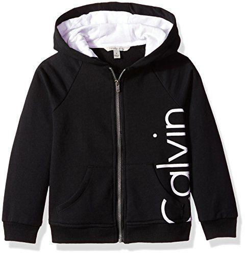 Calvin Klein Little Girls' Logo Zip Front Hoodie, Anthracite, 6X