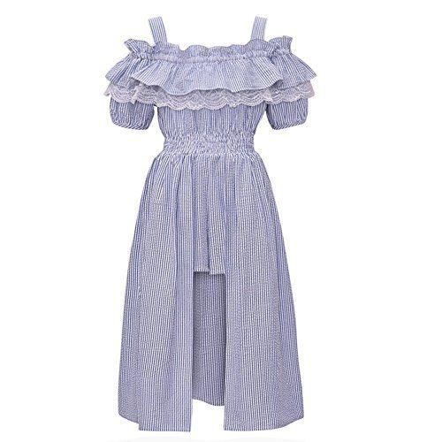 Bonnie Jean Big Girls Blue Ruffle Maxi Skirt Overlay Cold Shoulder Romper 8