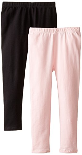 The Children's Place Big Girls' Solid Legging (Pack of 2), Black/Shell, Large (10/12)