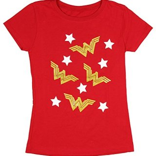 DC Comics Girls' Wonder Woman Gold WW Logo Stars T-Shirt (X-Large, 14/16)